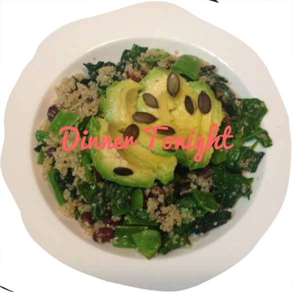 Quinoa, black bean, kale, snow pea, avocado and pepita salad. Tossed in olive oil and lemon juice. Tasty!